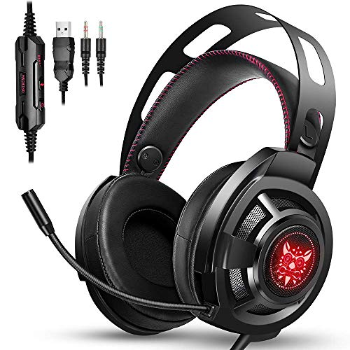 ONIKUMA Gaming Headset - Gaming Headphones for Nintendo Switch, PS4, Xbox One, PC, Mac, Noise Cancelling Over-Ear Headphones with Mic, Soft Memory Earmuff, Stereo Bass Surround & RGB LED Light