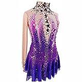 XRDSHY Vestito da Pattinaggio Artistico Fatto a Mano Costume Professionale da Competizione Ad Alta Elasticità Traspirante Abito da Pattinaggio su Ghiaccio a Maniche Lunghe per Ragazze,Purple-S