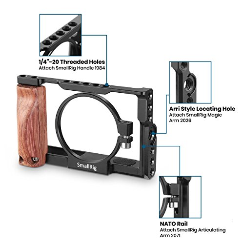 SMALLRIG Cage for Sony RX100 V / RX100 III / RX100 IV (for Sony M3 M4 M5) Camera with Wooden Handle Grip - 2105