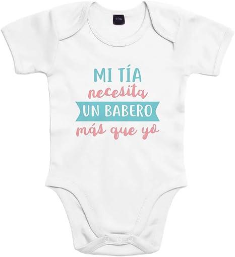 SUPERMOLON Body bebé algodón Mi tía necesita un babero más que yo 3 meses Blanco Manga corta: Amazon.es: Bebé