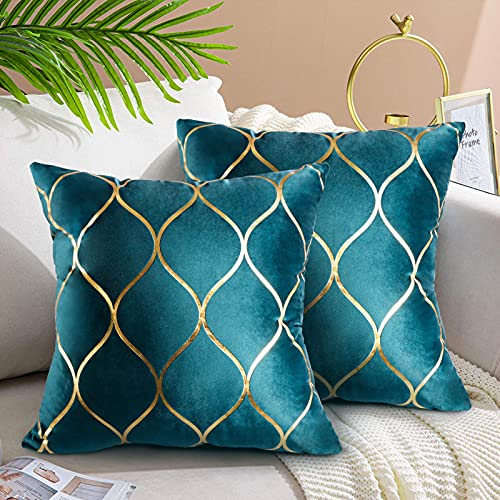 Velvet Cushion Covers 45cmx45cm Set of 2 Teal Soft Solid Decorative Couch Cushions 45x45 Velvet Throw Pillow Covers for Sofa Couch Living Room Bedroom