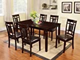GTU Furniture 7-Piece Dark Cappuccino Finish High-Grade Dining Room/Kitchen Table Set