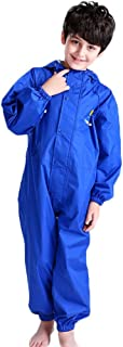 Kids Toddler Rain Suit Waterproof Coverall with Hood Baby One Piece Rainsuit Muddy Buddy Jumpsuit 2-12 Years