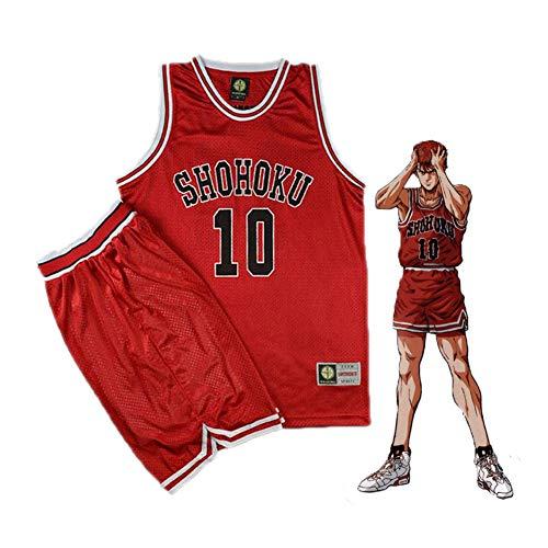 GGOODD Anime SLAM Dunk Sakuragi Blumenpfad Nr. 10 Cosplay Kostüm Halloween Party Tägliche Kleidung Rote Basketball Herrenbekleidung Jersey Sportswear Uniform,L