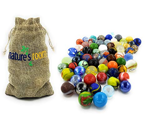 Naturesroom Glass Shooter Marbles for Kids - 1' Shooter Marbles for Games and Home Decorations - Set of 50 Assorted Colors Bulk with Storage Bag