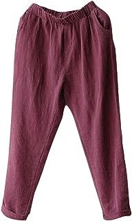 Womens Cotton Linen Loose Fit Elastic Waist Harm Pant