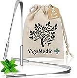 YogaMedic Limpiador de Lengua [2x] - 100% acero inoxidable, naturalmente Anti-Microbiano para combatir el mal aliento - raspador de lengua - tongue scraper