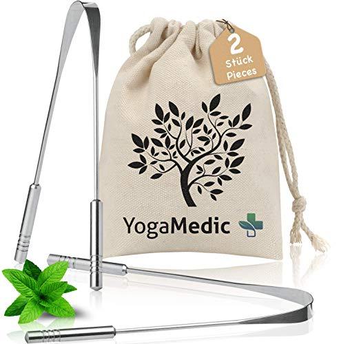 YogaMedic Limpiador de Lengua 2x - 100% acero inoxidable, na