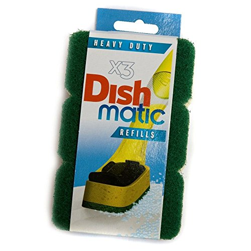 6 Heavy Duty Dishmatic Green Refill Sponges
