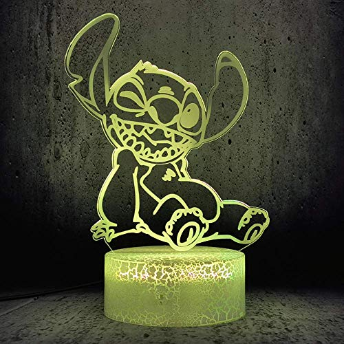 3D Illusion Lamp Led Night Light Cute Stitch Cartoon USB 7 Color Sleep Home Decor Best Birthday Holiday Gifts for Children