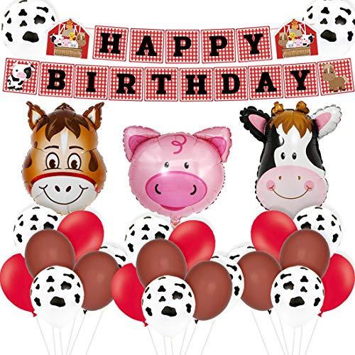 Bauernhof Tier Geburtstag Dekorationen liefert Barnyard Happy Birthday Banner für Bauernhaus Party Supplies 1. 2. 3. Geburtstag
