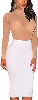 Lrady Women's Sheer Mesh Turtleneck Neck See Through Leotard Bodysuit Body Tops