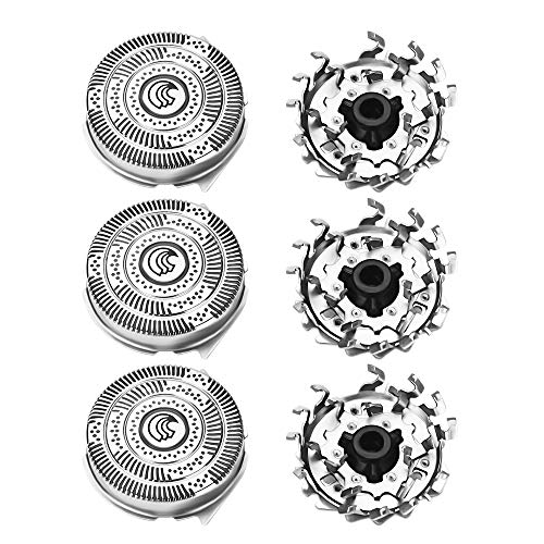 Set di 3 testine per rasoio elettrico da uomo, per Philips HQ9 HQ8140 8160 8170 9160 9170 9190 PT920 testine di ricambio per taglio, lame rotanti per uomo, una rasatura comoda