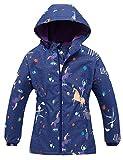 Echinodon Chaqueta para niña con forro polar, cálida, impermeable, cortavientos, transpirable, para niños, chaqueta de lluvia de entretiempo A-azul. 134 cm-140 cm