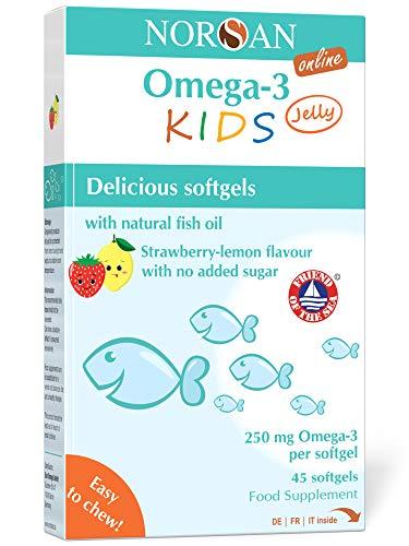 NORSAN Premium Omega 3 KIDS Jelly 45 - 1.000mg dose giornaliera - 2.000 medici raccomandano Norsan Omega 3 - Jelly per bambini facile da masticare, senza zuccheri aggiunti, senza ritorno di gusto