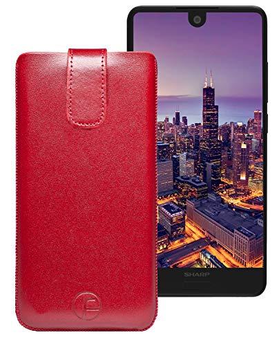Favory Original Etui Tasche für Sharp Aquos C10 Leder Etui Handytasche Ledertasche Schutzhülle Hülle Hülle Lasche mit Rückzugfunktion* in Rot