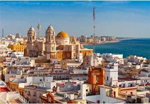 Puzzle 1000 Piezas de Rompecabezas aérea Panorámica de la Ciudad Vieja tejados y Catedral De Santa Cruz Torre Tavira de Cádiz, Andalucía España for el Cabrito Adulto