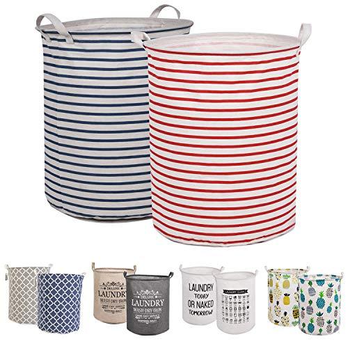 """LessMo 2PCS 17.7""""Clasificador de Almacenamiento de canastas de lavandería, cestos de lavandería Plegables, Ropa de algodón Redonda Impermeable (Tiras, Engrosado 17.7""""/ Medio)"""