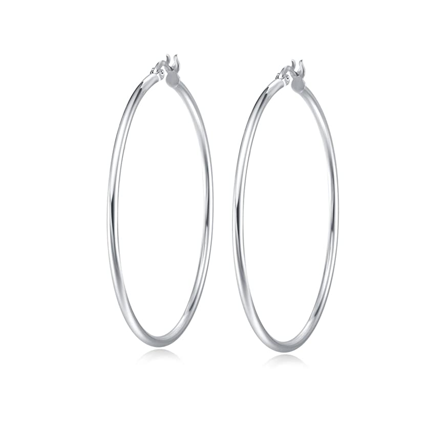 Carleen Gold Plated 925 Sterling Silver High Polished 2mm Round Tube Click-Top Large/Big Huggie Piercing Hoop Earrings Fine Jewelry for Women Girls, All Size