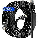 Cable Ethernet 15 metros Exterior- (15 Clips Gratis)Rj45 15m Cable de Red Impermeables Plano LAN Cable Gigabit Cat 6 , Más Rápido que Cat 5E/Cat 5 para Router Ordenador MóDem Xbox