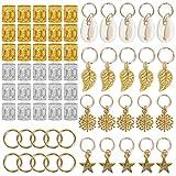 Huaviewin 80PCS African Hair Jewelry Braid Accessories Decorations Gold Silver Metal Hair Ring Tubes Cuffs Dreadlocks Dread Beads