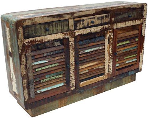 Guru-Shop Commode Vintage, Planche Haute, Commode, Buffet, Armoire de Couloir - Modèle 5, Multicolore, 85x140x38 cm, Commodes Meubles à Tiroirs Buffets