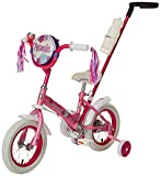 Schwinn Petunia Steerable Kids Bikes,12-Inch Wheels, Quick-Adjust Seat,Training Wheels, Push Handle for Easy Steering, Pink/White