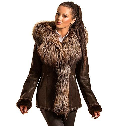 Hollert German Leather Fashion Lammfelljacke - Layla Damen Merino Felljacke Lederjacke Winterjacke mit Kapuze Echtleder Size S, Color Braun