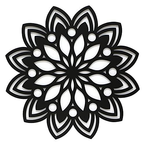 Cuadro Mandala Calada de Pared -Fabricado en Madera Artesanalmente en España - Cuadro Decoración para Salón, Dormitorio, Baño (Beige, 1 unidad 60x60 M50)