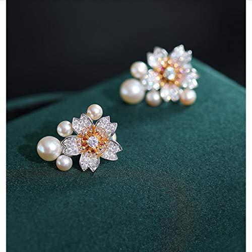 KGDC Pendientes Pendientes de Perlas de Agua Dulce núcleo 3.5-6mm925 Pendientes Fashion Art Deco Perla con Incrustaciones de circonio de Plata Novia de Regalo Aretes para Mujeres