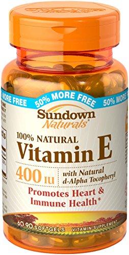 Sundown Vitamin E Natural Softgels, 400 IU, 100-Count Bottles (Pack of 3)