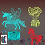 Regalo unicornio, luz nocturna unicornio 3D para niños (3 diseños) con control remoto,...