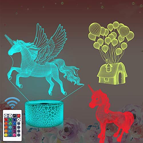 Einhorn geschenke, 3d einhorn nachtlicht für kinder (3 muster) mit fernbedienung & 16 farben ändern & dimmbare funktion, weihnachten geburtstagsgeschenke für junge mädchen mann kind