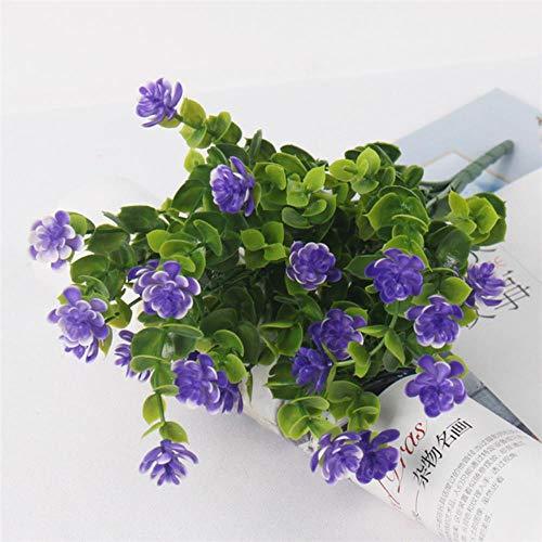 21 Hoofden Lotus Plastic Bloem Met Eucalyptus Bladeren Kunstbloem Rozen Boeket Voor Huisdecoratie Planten Muur Tuin Decor, Blauw