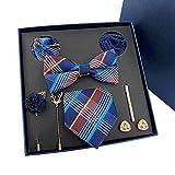Krawatten für Herren, Geschenkboxen, Hochzeits-Krawatte, Handtuch, Brosche, Manschettenknöpfe, 8-teiliges Set, Geschenk für Vater und Ehemann (Farbe: C) für Hochzeitsparty...