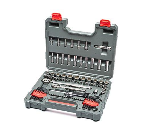 """Crescent Conjunto de ferramentas mecânicas métricas, padrão de 6 e 12 pontos, SAE/profundidade, 84 peças, 1/4"""" e 3/8"""" - CTK84CMPN"""