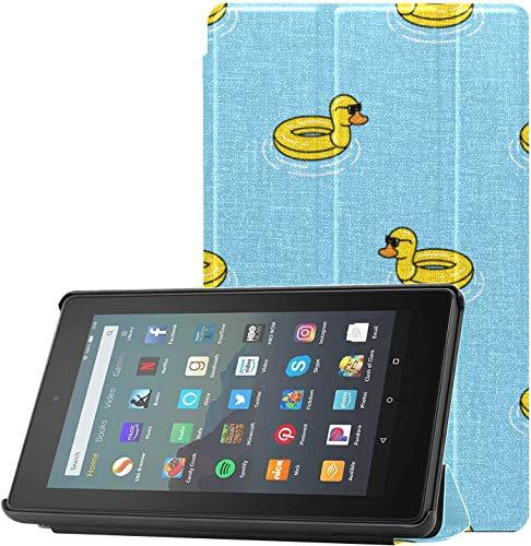 Funda Kindle Fire 7 Funda Barata y Encantadora de Pato de Goma Amarilla para Fire 7 para Tableta Fire 7(novena generación,versión 2019) Ligero con Reposo automático/activación