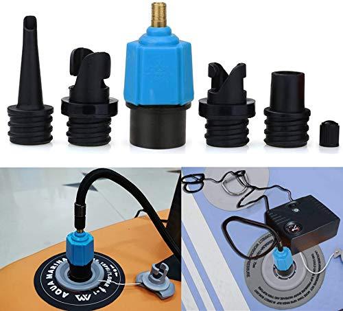 Fansjoy Kanu Kajak Pumpe Ventil Adapter, SUP Standup Paddle Board Luft Ventil Luft Kompressor Adapter Zubehör mit 4 Gasdüse für Schlauchboot, Aufblasbares Bett, Kajak, Kanu, SUP(Blau)