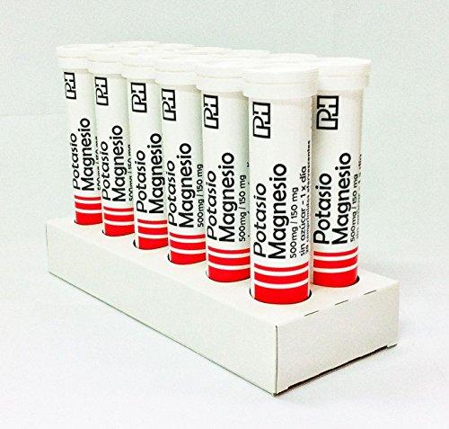 Pack POTASIO MAGNESIO PH 500 mg/150 mg. 12 Tubos de 20 comprimidos efervescentes. OFERTA 10+2 Gratis