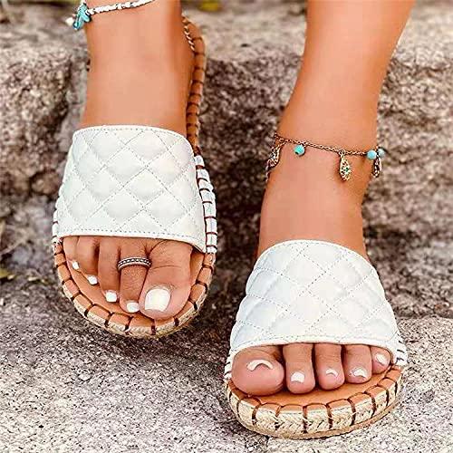 ypyrhh Planas Caminar Ortopedicas Zapatos,Zapatillas de Ranura de Coche de Moda,Damas netas-Blanco_40,Baño Sandalia Suela De Suave