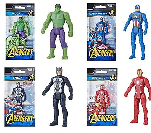Pack 4 Hasbro Marvel Avengers Serie 9,5 cm Thor Hulk Capitán América Iron Man de Juguete Figura de acción
