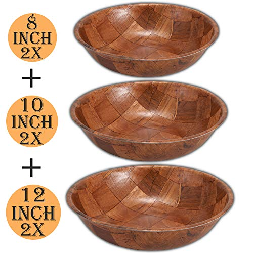 Wooden Salad Bowl Set of 6 Includes - 8, 10 and 12 Inch Wooden Bowls 2 of Each Size. Great for...