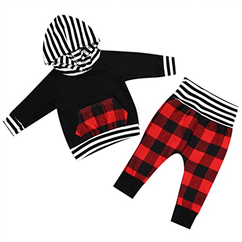 Newborn Baby Boys Girls Hooded Striped Kangaroo Pocket Tops + Plaid Red Pants 2PCS Outfits (Red, 0-6m)