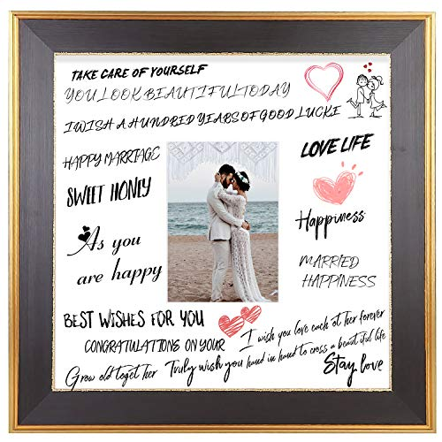Space Art Deco 14x14 Classic Gold Design Black Frame - White Mat for Wedding Signatures - For 5x7 Inch Pictures - Easel Stand for Table Top - Sawtooth Hanger - Wall Mount - Glass (14x14)