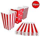 BangShou - 60Pezzi Scatole Popcorn Sacchetti di Popcorn Contenitori per Caramelle, Popcorn, Biscotti e Dolce (Rosso)