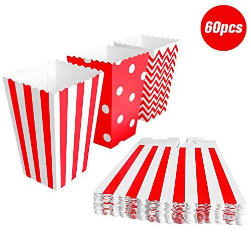 BangShou 60pcs Cajas de Palomitas Cartón Caramelo Contenedor Cine Pequeñas Cajas de Palomitas de Maíz 12 x 7.5cm (Rojo)