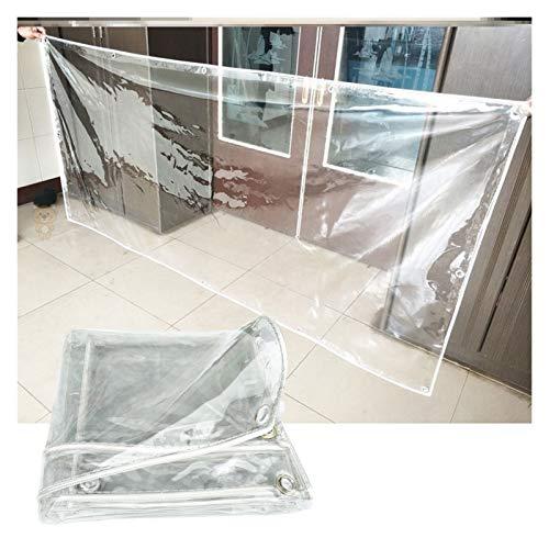 YYFANG Lona Transparente con Ojales, PVC 0,3mm, Cubierta Vegetal, Vidrio Blando Engrosado Resistente Al Clima Lona Alquitranada (Color : Claro, Size : 3X4M)