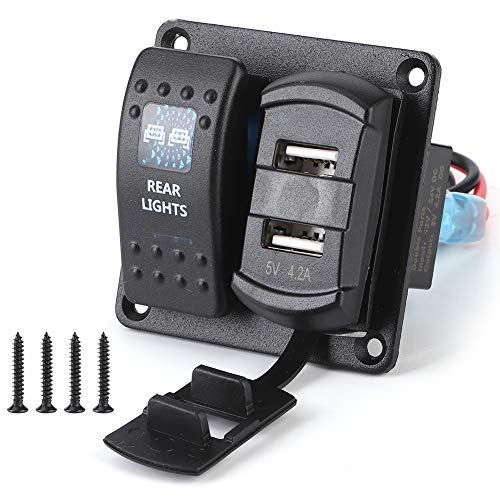 Rocker Switch Holder Gang Rocker Switch Panel 2 USB con voltímetro digital 5PIN Interruptor de luz dual