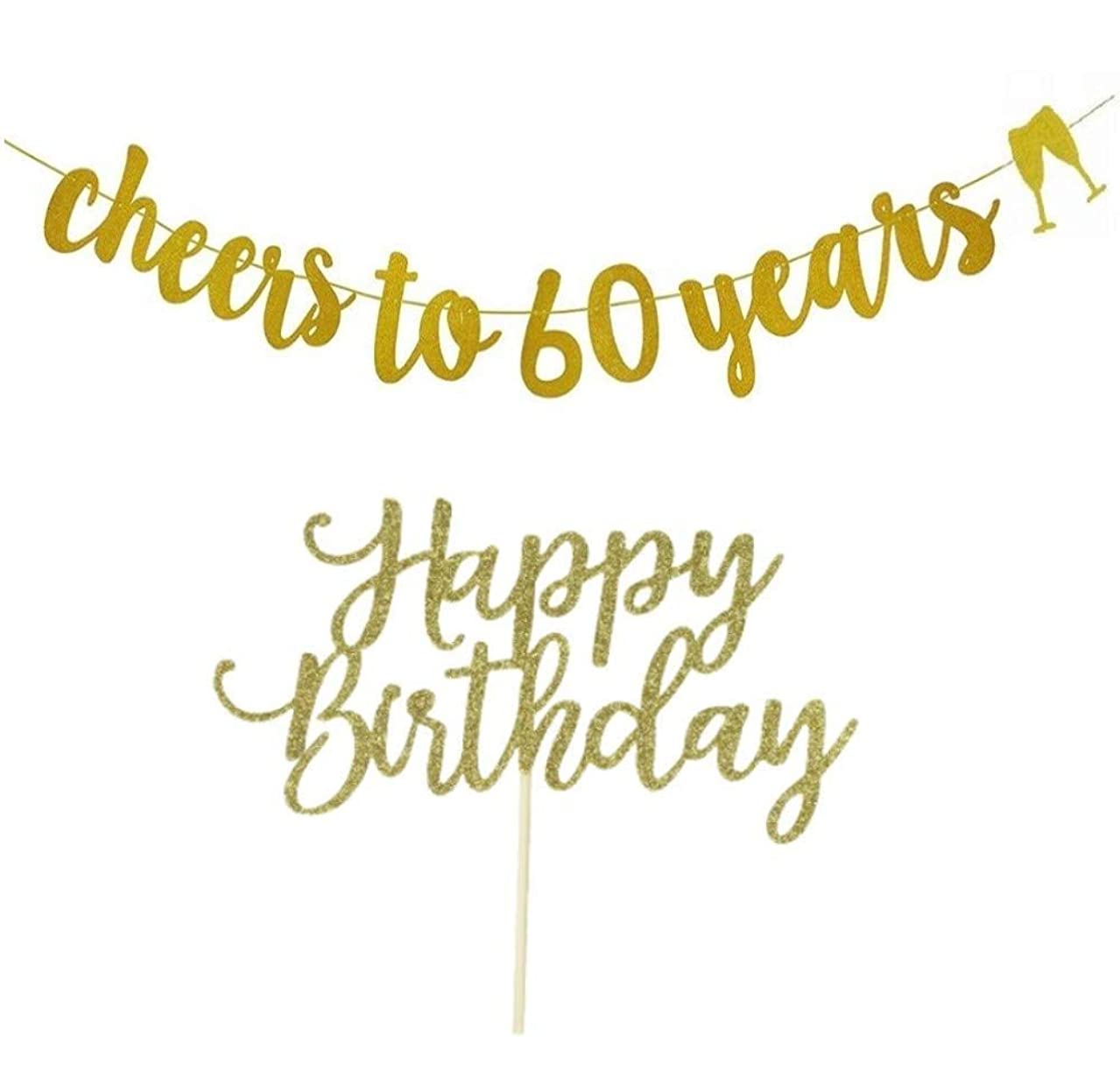 60th Birthday Banner, 60th Birthday Decorations Gold Glitter, Cheers to 60 Years, with Happy Birthday Cake Topper