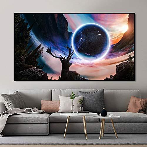 KWzEQ Fantasie Sternenhimmel und Planet Poster und Leinwanddruck Wandkunst Sonnenuntergang und Elch Bilder,Rahmenlose Malerei,45x78cm